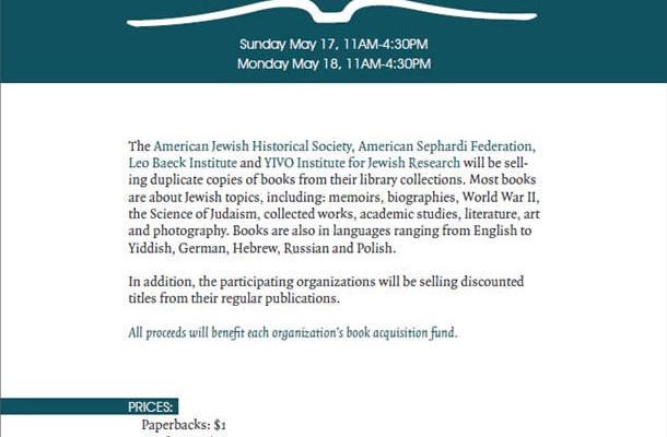 May 17- 18: Second-hand book sale at the Center for Jewish History