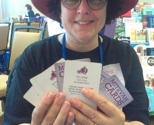 Rabbi Goldie Milgram with Mitzvah Cards