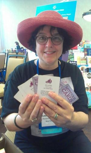 Rabbi Goldie Milgram with Mitzvah Cards